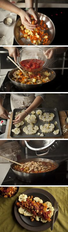 Parmesan Roasted Cauliflower Steaks with Fall Vegetable Ragout by plated #Cauliflower_Steaks #Vegetables