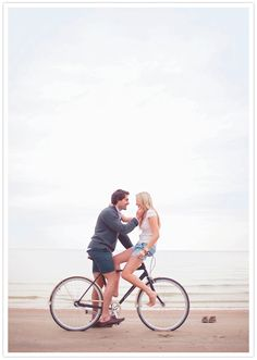 beach bike engagement session