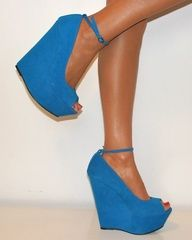 blue wedg, fashion, cloth, blue suede shoes, blue lagoon