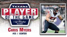 Hell yeah! I am glad he is getting credit! Regular Season Week 6: Chris Myers