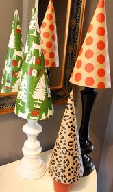 52 Mantels: Wrapping Paper Christmas Tree Topiaries