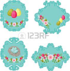 Etiquetas retro florales azules con los huevos de Pascua aislados sobre fondo blanco Foto de archivo