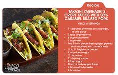 Takashi Yagihashi's Crispy Tacos with Soy Caramel Braised Pork —terrific for tailgating! See more at macys.com/culinarycouncil