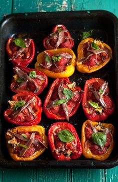 Roasted peppers stuffed with tomatoes and garlic