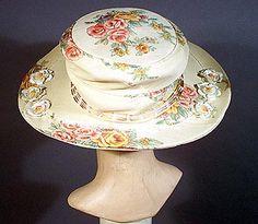 1910s floral print crepe hat