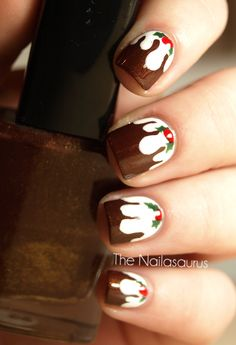 Cute Christmas Pudding nails from the Nailasaurus christmas wreaths, christma pud, christmas crafts, christmas card crafts, christmas nails, christmas ornament crafts, diy christmas ornaments, christma nail, diy christmas cards