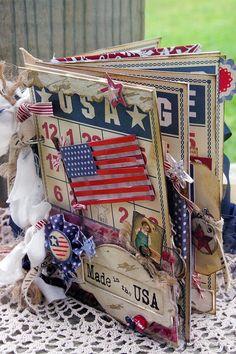 Blessed and Distressed: Mini Albums - patriotic mini scrapbook album