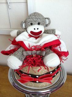 Sock monkey diaper cake - PooLaLaDiaperCakes.etsy.com