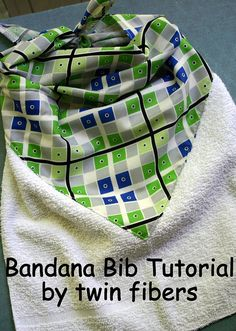Bandana Bib Tutorial - My Mother made these for us kids and her grandkids.  Just wet the washcloth when you're done for a quick face wash for little messy eaters!  <3