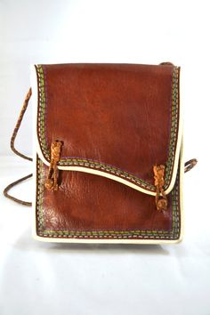 Mexican Leather Satchel Bag with Shoulder Strap via Etsy.