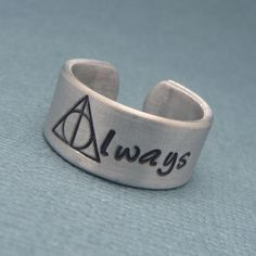Harry Potter Inspired - Always - A Hand Stamped Aluminum Ring. $12.95, via Etsy.