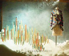 holiday, window displays, winter wonderland, snow, christmas displays, anthropologie, sticks, windows, store window