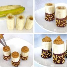 Hollow out your banana, dip the end in melted cacao (or vegan chocolate chips), roll in nuts (could also use coconut flakes) and fill with almond butter(or peanut butter)