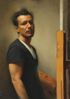 Artist: Elkin Cañas, oil on linen, 2012; Miami, Florida {contemporary figurative painter standing male at easel self-portrait man painting} elkinfinearts.com