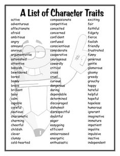 This is a list of 174 different Character Traits. - use with self exploration and self esteem activities for kids who have trouble coming up w/words to describe themselves