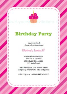 Free printable cupcake birthday invitations - pink stripes and cupcake