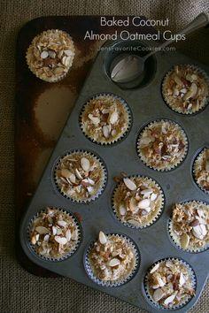 Baked Coconut Almond Oatmeal Cups from @jen's Favorite Cookies  JensFavoriteCookies.com