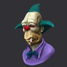 Krusty the clown 3D WIP by TranzorZ3D.deviantart.com clown 3d