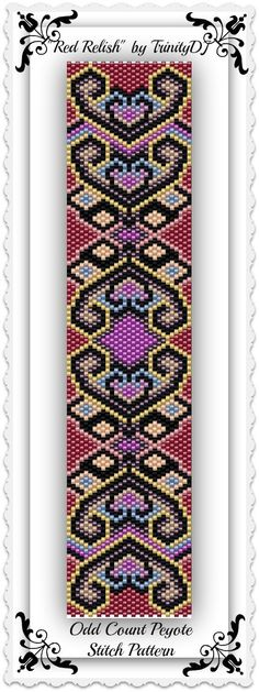 BP-AB-087 - Red Relish - Odd Count Peyote Stitch Bracelet Pattern - One of A Kind - In The RAW design