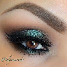 Smokey green #eye #makeup #eyes #eyeshadow #smokey #dark #dramatic #bold