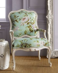 """""""Sky Rose"""" #Chair by #Massoud at #Horchow #Floral #Print"""