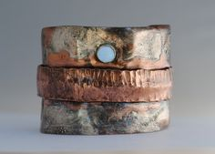 Textured Sterling Silver and Copper Fold Form by jewelrybynaomi, $85.00