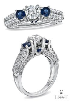 Vera Wang LOVE Collection 1-1/4 CT. T.W. Diamond and Sapphire Three Stone Engagement Ring in 14K White Gold