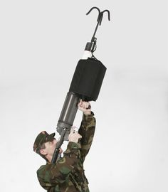 Pneumatically-powered grappling hook gun, no further explanation required