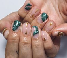 Gold nails green nai