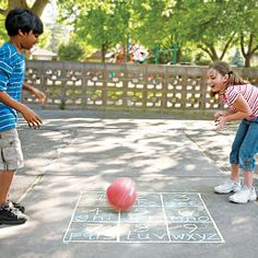 This two-person blacktop game gives kids a fun way to practice their spelling skills.