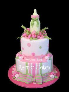 Pink & Green Baby shower cake