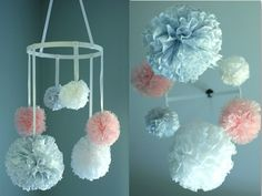 Nursery Mobile with Lace, Baby Mobile, Crib Mobile, Hanging Pom Poms, Nursery Decor - Pink, Yellow fabric pom pom mobile on Etsy, $55.00