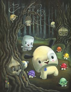 """""""March of the Gumdrops"""" by 64 Colors.  So adorable and whimsical/  #art, #painting"""