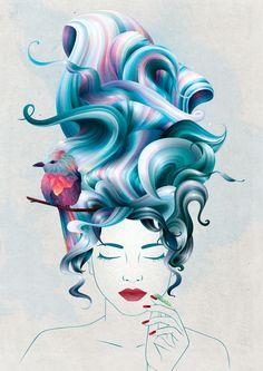 a girl with aqua hair by Inna Adamenya, via Behance