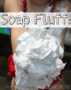 Gorgeously goopy soap fluff sensory play material using 2 ingredients. Add glitter for sparkle!