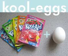 Use Kool-Aid and water to dye eggs. The colors turn out great and there's no stinky vinegar smell!