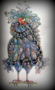 Zentangle bird in color
