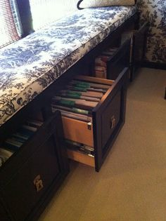 Built in window seat with file drawers for the office