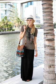 Plain tee, plain maxi skirt, tribal printed accessories...sexy time. maxi dress #anna7891 #style for women #womenfashionwww.2dayslook.com