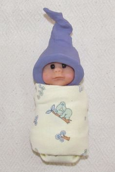 Polymer Clay Baby Elf Doll with Hat: Animals Swaddling Cloth: by joycesclay on Etsy, $20.00