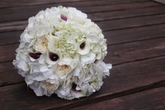 Hydrangeas, David Austin Garden Roses instead of purple add pops of green from hypericum Flowers by F Dellit Designs