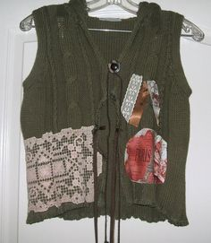 Sweater Hoodie Shrug Vest Top Dark Green Boho by BohoInFashion, $54.00