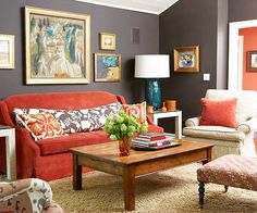 Color scheme. Red, grey, turquoise. Living Room - I dream of a red velvet sofa and gold frames to portray my love for mixing and matching styles. More lively flowers and turquoise touches refresh and unite this space with the rest of My Dream Home.