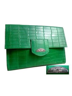 FRENCH POURCHET CLUTCH  green leather croco 80s