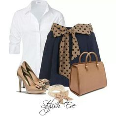 Brown, navy blue outfit