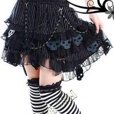 Black Cyber Goth Punk Emo Scene Clothes Modest Tutu Skirts Women SKU-11406088
