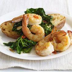 Garlicky Shrimp & Spinach