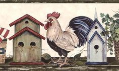 Patriotic Rooster  | Country Patriotic Shelf with Rooster Wallpaper Border HH28182B