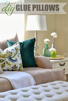How to make your own pillows using only fabric glue! A great (and affordable!) no-sew alternative to buying expensive pillows!