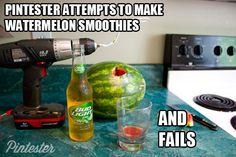 Did you know that you can make watermelon smoothies with a wire hanger and a drill? Hold my beer! Watch this! #upforwhatever with Bud Light Lime